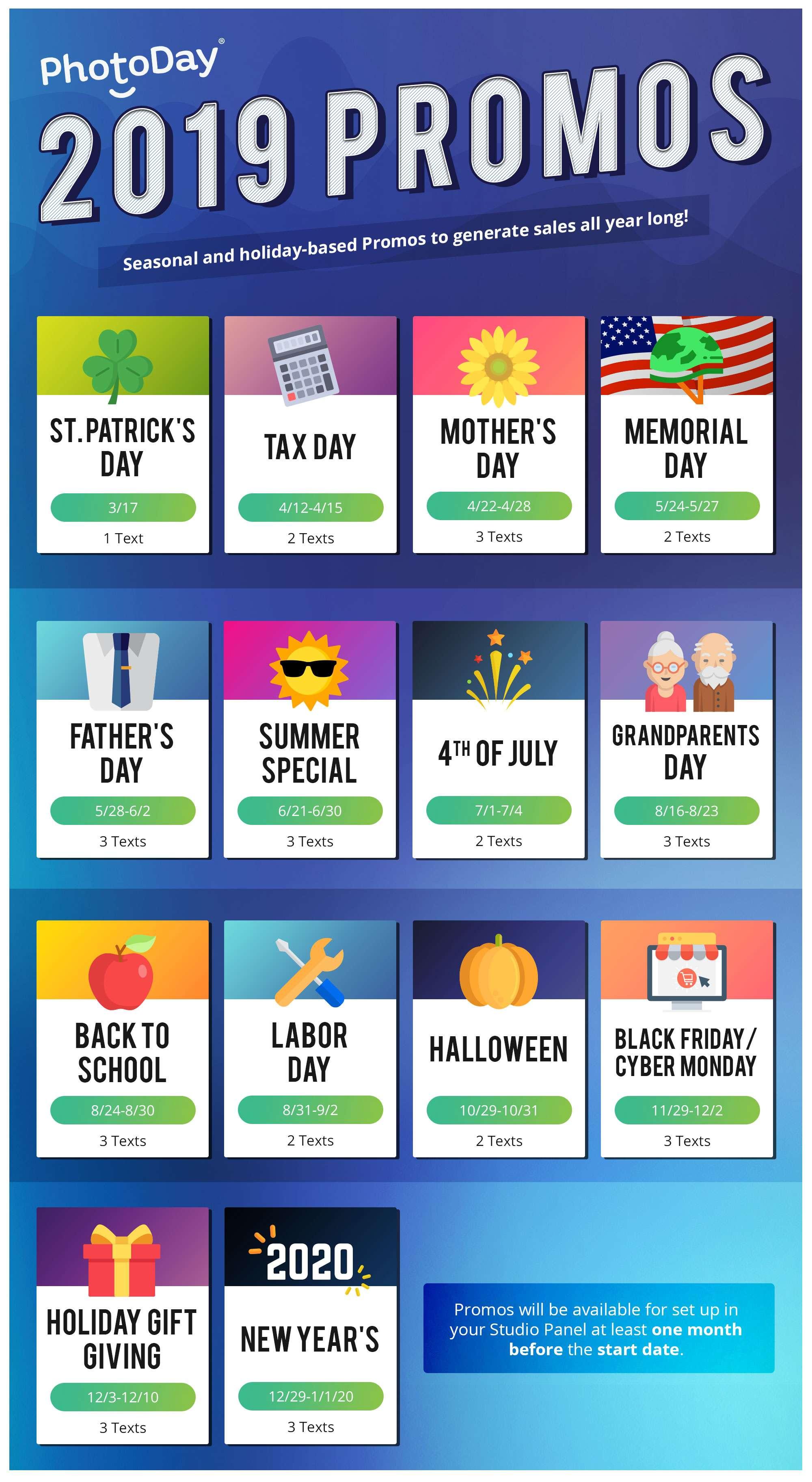Promos Schedule 2019